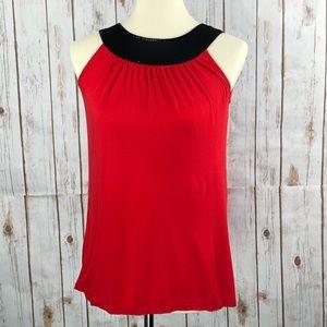 Express Red Black Sequin Satin Collar Shirt Top